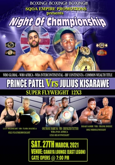 Patel faces Kisarawe for WBO, WBO Global and IBF titles