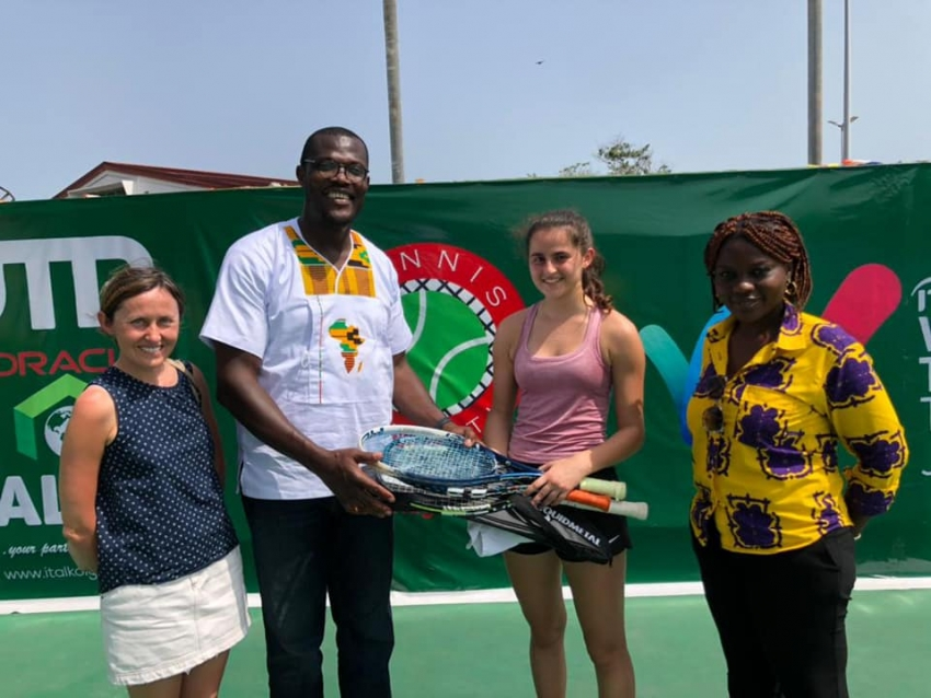 16 year old tennis player Lara from the UK  donates  rackets to support young people in Ghana